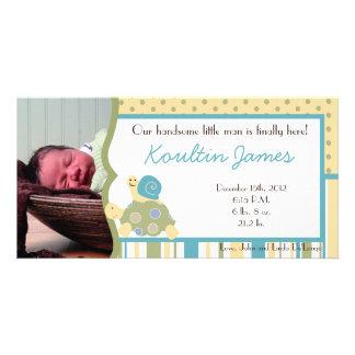 Sunny Turtle Sea Life Photo Birth Announcement Personalised Photo Card