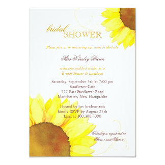 Sunny Watercolor Sunflowers Floral Bridal Shower Card