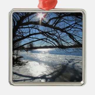 Sunny Winter Day at the River Metal Ornament
