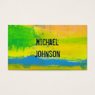 Sunny Yellow Blue Abstract Grunge Art