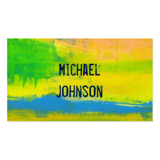 Sunny Yellow Blue Abstract Grunge Art Pack Of Standard Business Cards