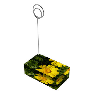 Sunny yellow chamomile table card holder