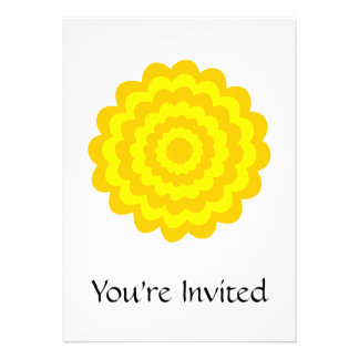 Sunny yellow flower. personalized invitation