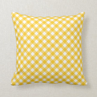 Sunny yellow gingham pattern checkered checkers throw cushions