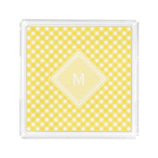 Sunny Yellow Gingham with Diamond Monogram Acrylic Tray