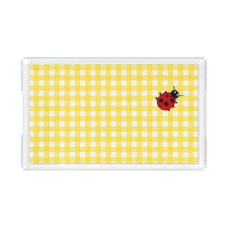 Sunny Yellow Gingham with Ladybug Acrylic Tray