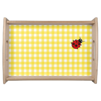 Sunny Yellow Gingham with Ladybug Serving Tray