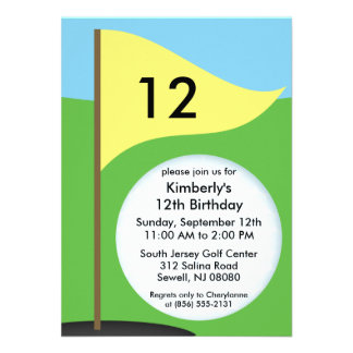 Sunny Yellow Let's Bogie Mini Golf Birthday Party Personalized Invitations
