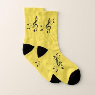Sunny Yellow Music Treble Clef Socks 1