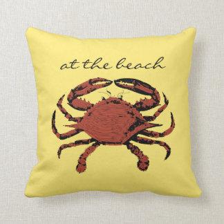 Sunny Yellow Nautical Crab Beach Home Throw Pillow