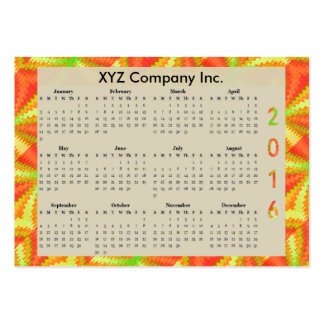 Sunny Yellow Orange Abstract 2016 yearly Calendar Pack Of Chubby Business Cards