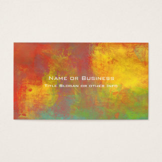 Sunny Yellow Orange Green Rustic Grunge Abstract Business Card