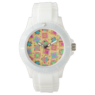 Sunny Yellow Patchwork Quilt Art Blocks Watch