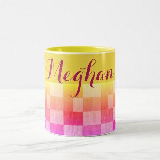 Sunny Yellow & Pink Quilt Pattern Name Mug