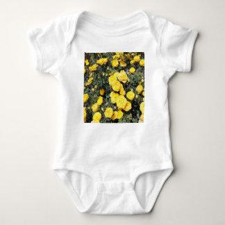 Sunny Yellow Rose Flowers Bus Baby Bodysuit