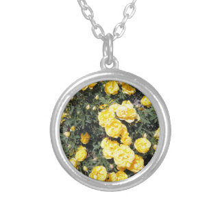 Sunny Yellow Rose Flowers Bus Silver Plated Necklace