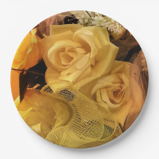 Sunny Yellow Rose Paper Plates 9 Inch Paper Plate