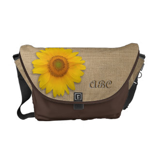 Sunny Yellow Rustic Sunflower Burlap Personalized Courier Bag