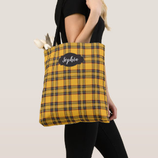 Sunny Yellow Tartan Plaid All-Over-Print Tote Bag