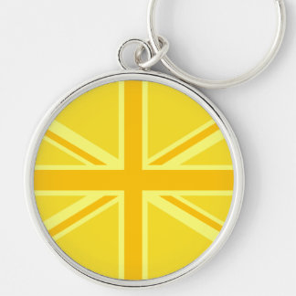Sunny Yellow Union Jack British Flag Decor Silver-Colored Round Key Ring