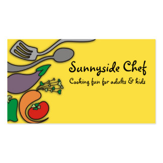 Sunny yellow vegetable cooking utensils biz cards pack of standard business cards