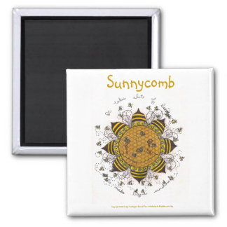 """Sunnycomb - 2"""" Square Magnet (white)"""
