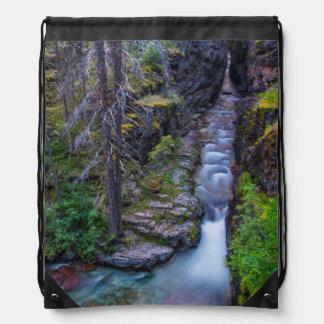 Sunrift Gorge In Glacier National Park, Montana Drawstring Bags