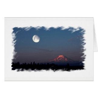 Sunrise and Moonrise over Mount Rainier Notecard