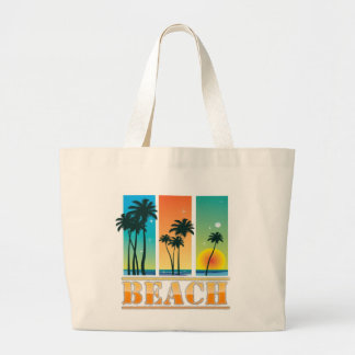 Sunrise and Palm Trees Sparkle Beach Bag