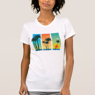 Sunrise and Palm Trees Sparkle Women's T-Shirt
