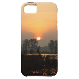 Sunrise at a lake with flying birds. case for the iPhone 5