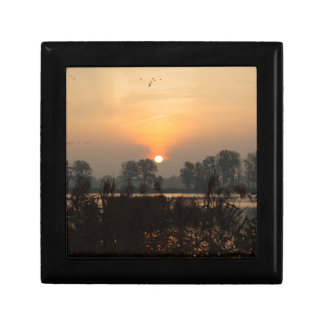 Sunrise at a lake with flying birds. gift box