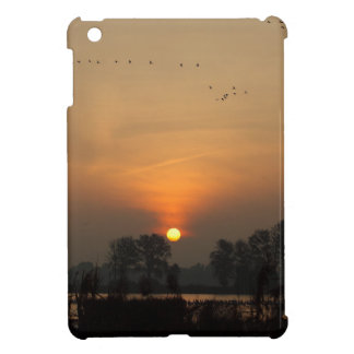 Sunrise at a lake with flying birds. iPad mini cover