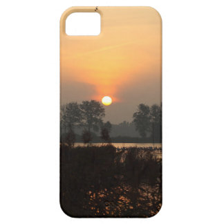 Sunrise at a lake with flying birds. iPhone 5 case