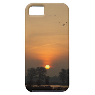 Sunrise at a lake with flying birds. iPhone 5 cover
