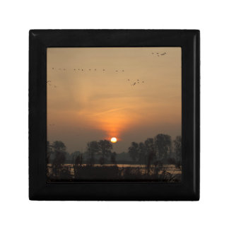 Sunrise at a lake with flying birds. small square gift box