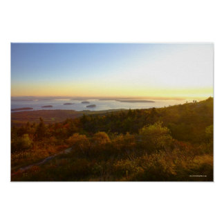 Sunrise at Cadillac Mountain with Hikers Poster