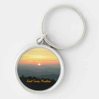 Sunrise at Clingman's Dome - Great Smoky Mountains Silver-Colored Round Key Ring