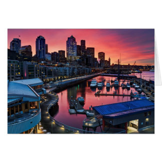 Sunrise at pier 66 looking down on bell harbor card