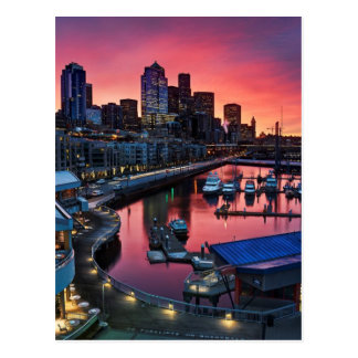 Sunrise at pier 66 looking down on bell harbor postcard