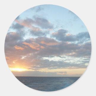 Sunrise at Sea I Pastel Seascape Classic Round Sticker