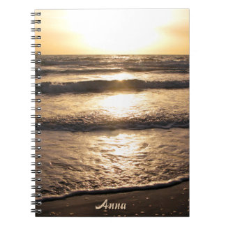 Sunrise Beach Ocean View Photo any Name Spiral Notebook