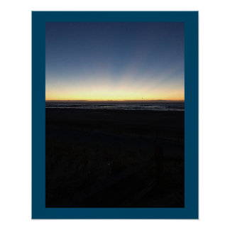 Sunrise Begins by Ocean Poster