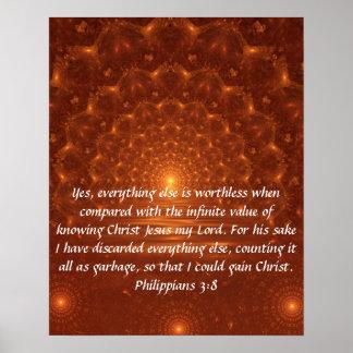 Sunrise bible verse Philippians 3:8 poster