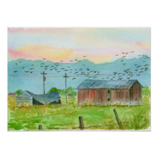 Sunrise Birds Red Barn Watercolor Landscape Art Poster