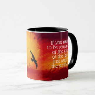 Sunrise, Birds & Religious Quote Mug