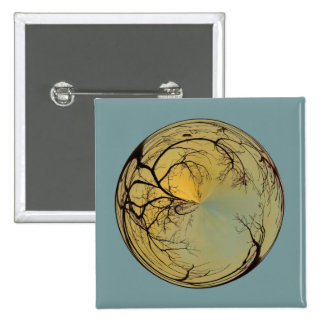 sunrise bubble with tree pinback buttons