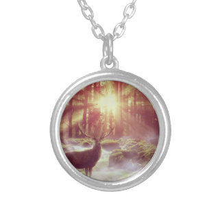 Sunrise Deer in Woods Silver Necklace