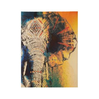 Sunrise Elephant Poster Print Wood Poster