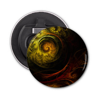 Sunrise Floral Red Abstract Art Button Bottle Opener